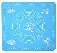 Силіконовий килимок для розкочування тіста і випікання в духовці, 29x26 див., колір - блакитний
