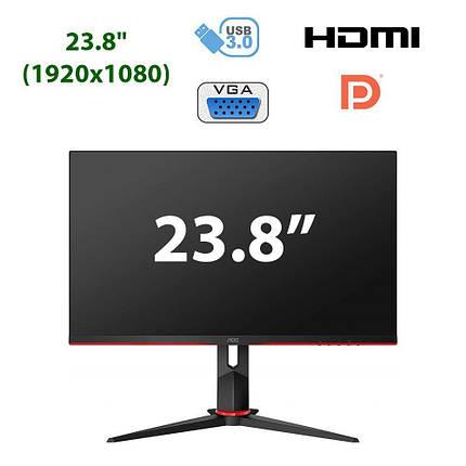 "Новый монитор AOC 24G2U5/BK / 23.8"" (1920x1080) IPS WLED / 2x HDMI, DP, VGA, USB, 2x Audio Ports / встроенные, фото 2"