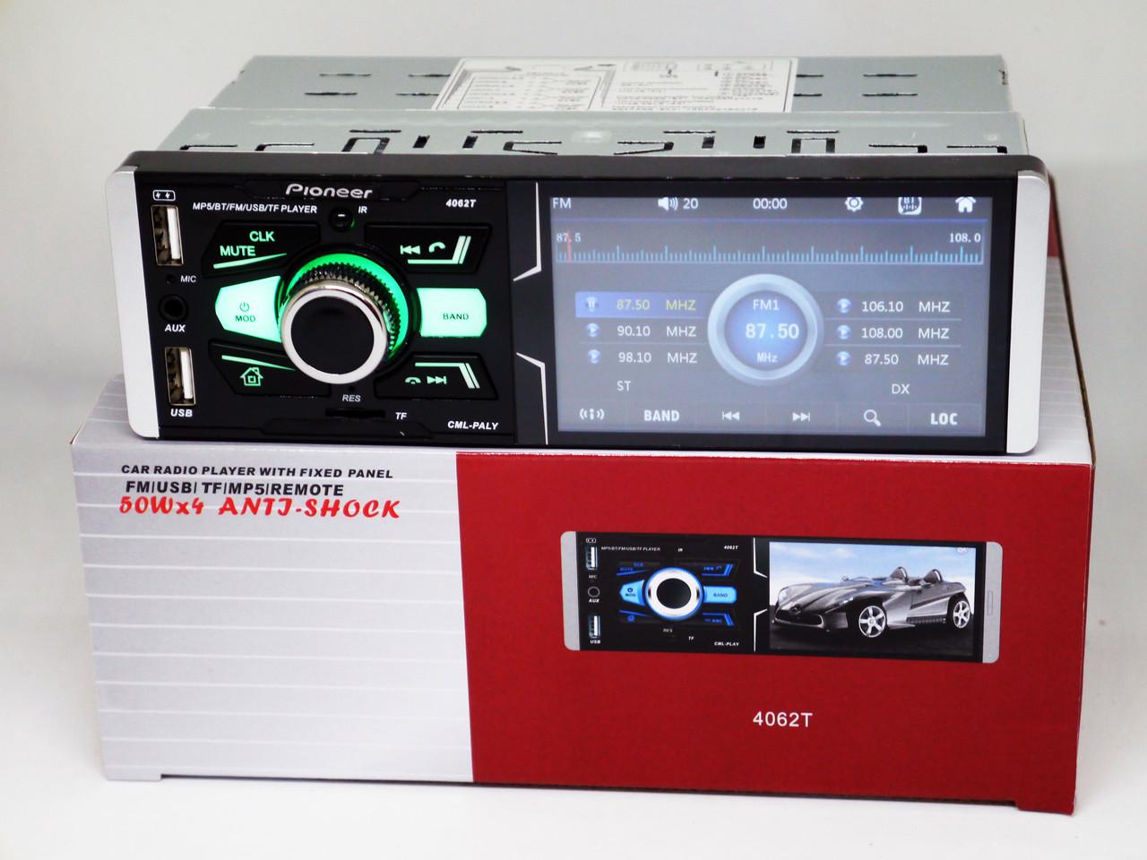 Pioneer 4062T ISO  - Сенсорный экран 4,1''+ RGB подсветка + DIVX + MP3 + USB + Bluetooth + AV-in