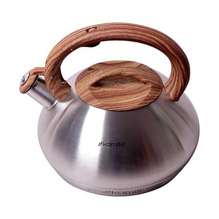 Чайник Kamille 3 л з нержавіючої сталі зі свистком з ручкою під дерево, фото 2