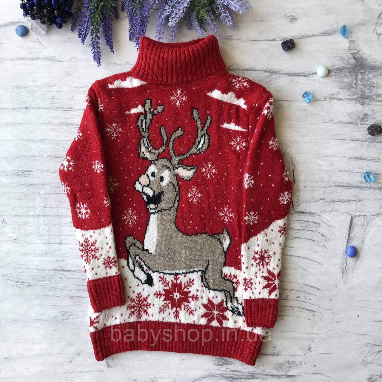Теплый новогодний свитер на мальчика и девочку 19. Размер 6 лет, 8 лет, 12 лет
