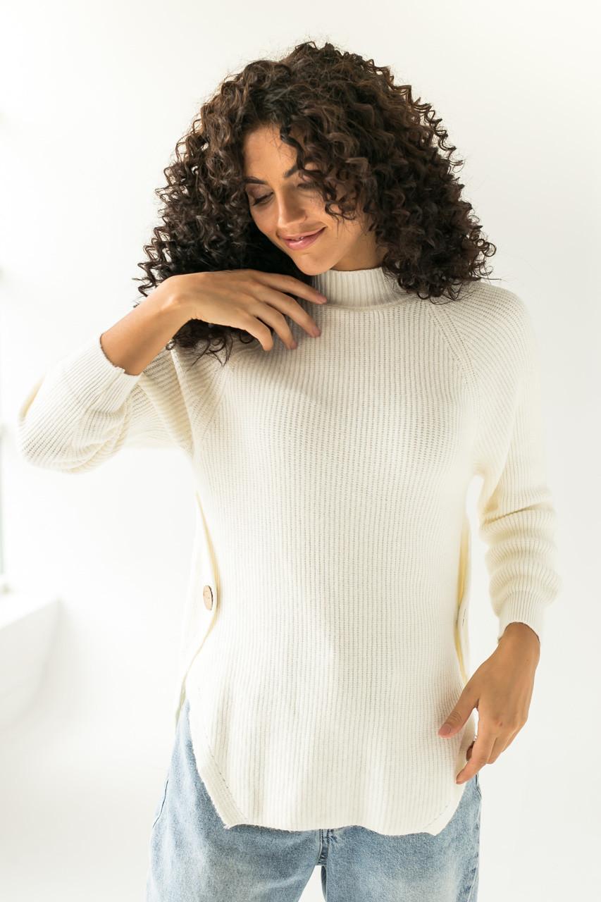 Теплый вязаный реглан с декоративными пуговицами LUREX - белый цвет, L (есть размеры)