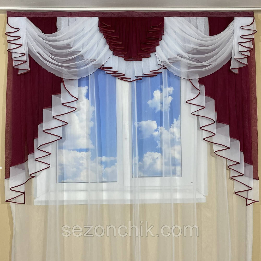 Красивый комплект штор с ламбрекеном