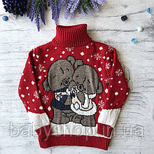 Теплый новогодний свитер на девочку и мальчика 9. Размер 2 года (92 см), 3 года, 4 года, 5 лет, 6 лет