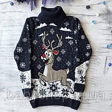 Теплый новогодний свитер на девочку и мальчика 6. Размер 2 года (92 см), 3 года, 4 года, 5 лет