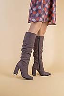 Демисезонные замшевые сапоги на каблуке цвета какао, 36