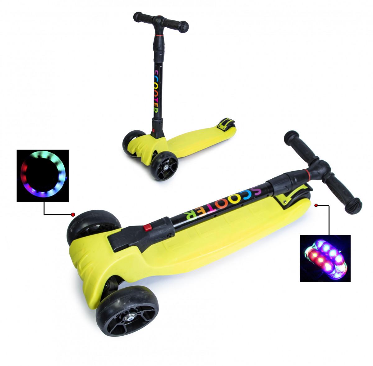 Детский трехколесный самокат Scooter Smart со светящимися колесами и складной ручкой, Yellow