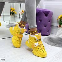 Крутые яркие желтые зимние женские кроссовки сникерсы зима 2020-2021, фото 1