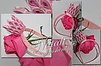 Ободок корона розовая блестящая