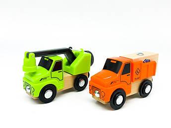 Набір машинок для деревяної залізниці PlayTive Ikea Brio Машинка з краном, вантажівка