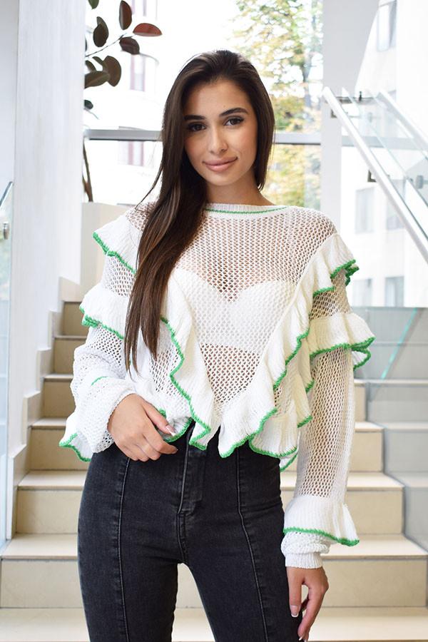 Тонкий свитер с рюшей впереди 6115