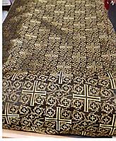 Тканина церковна Хрест Візантійський Комбі, чорна ш/з Тканина церковна