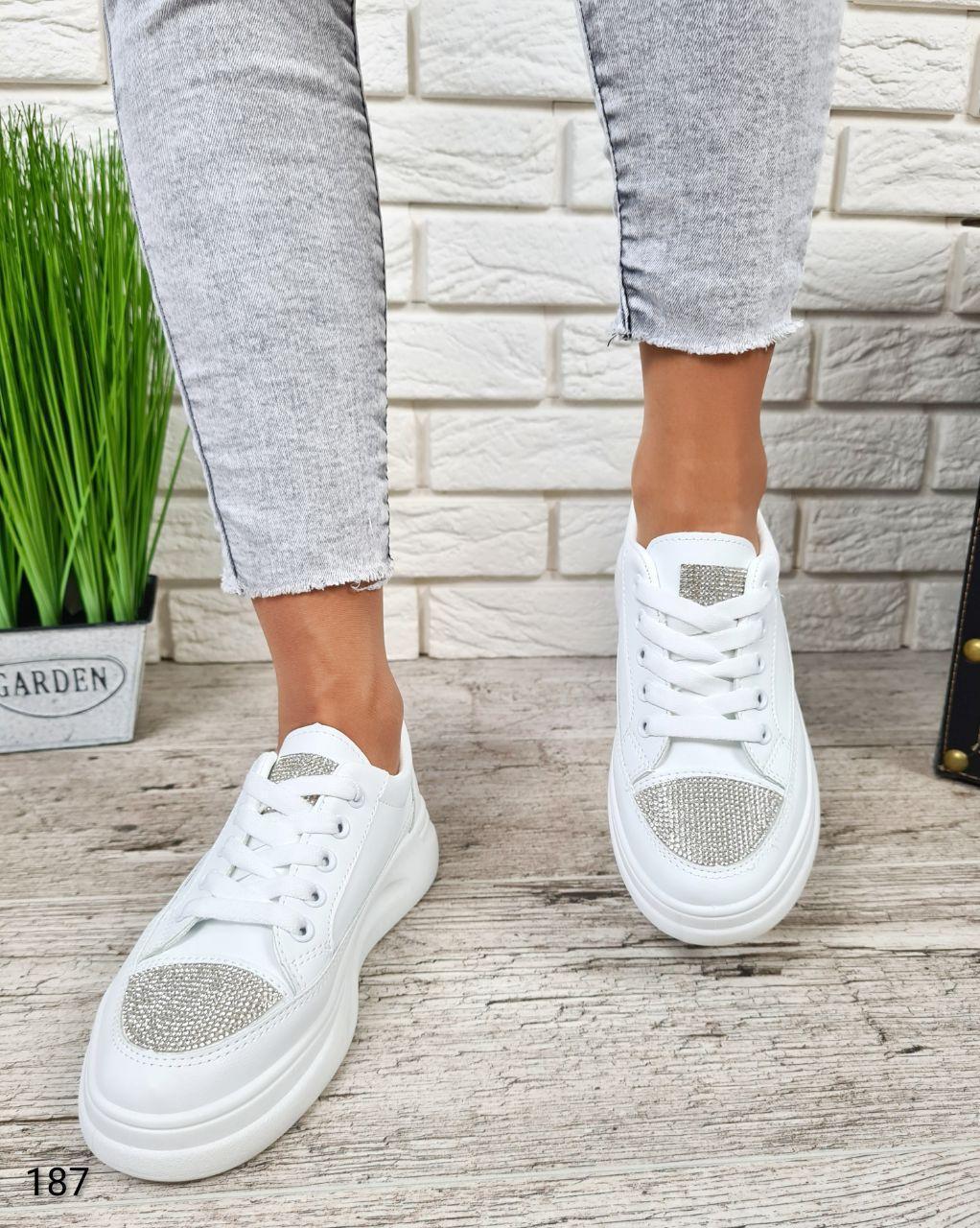Классические женские кроссовки Alenka из эко кожи белого цвета