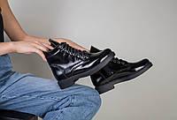 Кожаные (лаковые) зимние женские ботинки черного цвета