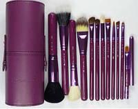 Кисти для макияжа на 12 шт фиолетовый тубус