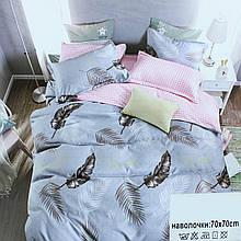 Ліжко двоспальне сатин сіра, постільна білизна з листочками Koloco