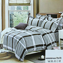 Постільний комплект темно-сірий, двоспальне постільна білизна в клітку, Koloco