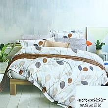 Двоспальне постільна білизна з листям коричневе, біле постільна з листочками