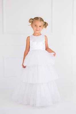 Нарядное платье для девочки трехслойное Белое