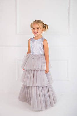 Нарядное платье для девочки трехслойное Серое