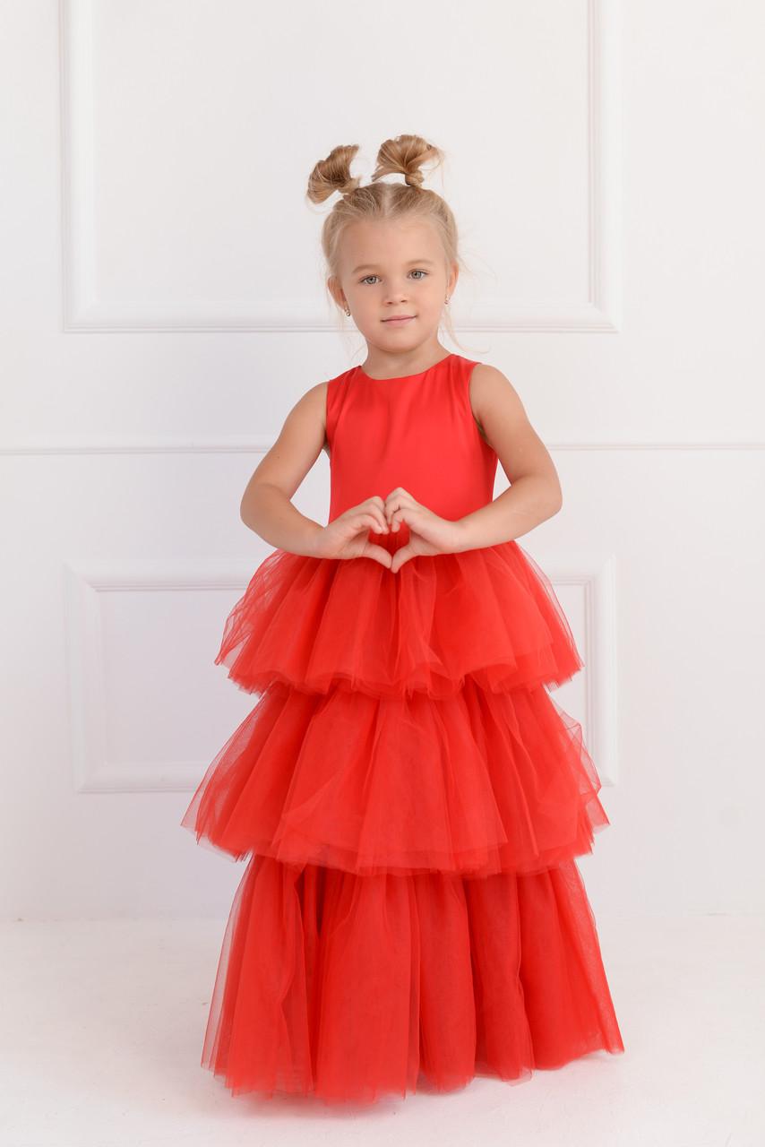 Нарядное платье для девочки трехслойное  Красное