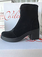 Ботинки женские,замша,на молнии,осень-зима.