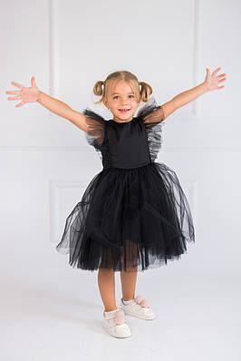 Нарядное платье с перышками Черное