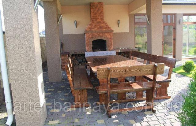 Садовая мебель из массива дерева  2500х1200 от производителя для дачи, пабов, комплект Furniture set - 18