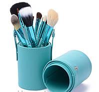 Набор кистей для макияжа на  12шт с тубусом Blue