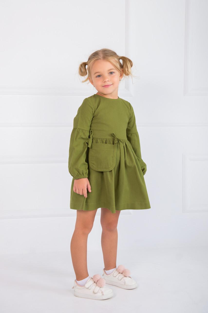 Платье детское из льна Зеленое