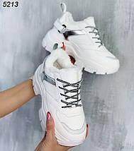 Кроссовки женские теплые зимние высокая подошва цвет белый, фото 3