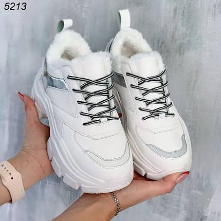 Кроссовки женские теплые зимние высокая подошва цвет белый, фото 2