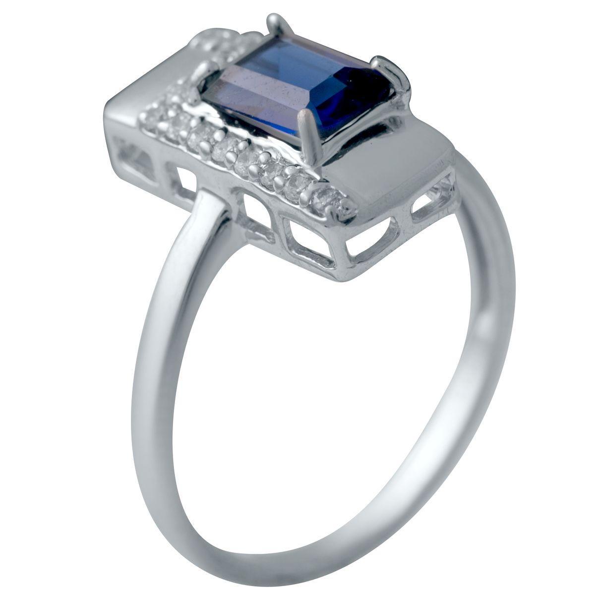 Серебряное кольцо DreamJewelry с сапфиром nano (2029632) 18 размер