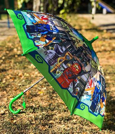 Зонт трость детский для мальчика Paolo Rosi Лего ниндзяго-2 зеленый на 4-8 лет (1258111494), фото 2