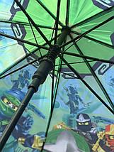 Зонт трость детский для мальчика Paolo Rosi Лего ниндзяго-2 зеленый на 4-8 лет (1258111494), фото 3