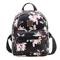 Женский красивый черный рюкзак с цветочками