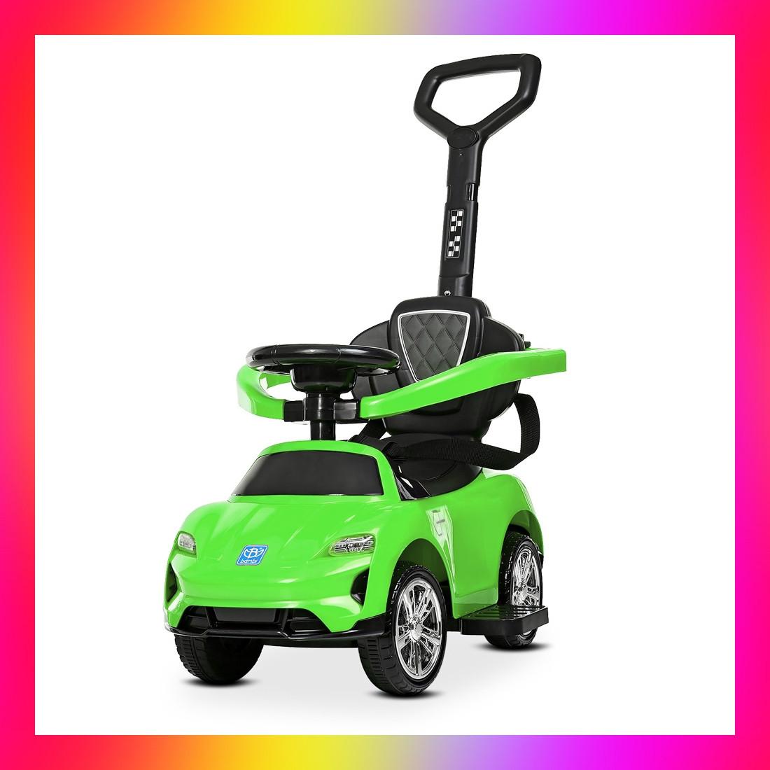 Детский электромобиль-толокар 2 в 1 трансформер с родительской ручкой , M 4290 зеленый