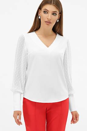 Белая блузка с V-образным вырезом и длинным рукавом, фото 2
