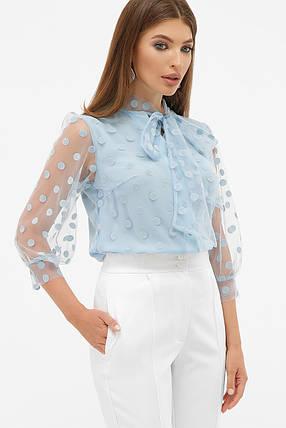 Голубая блуза в горошек с бантом на груди размер 42-50, фото 2