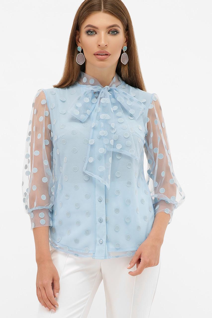 Голубая блуза в горошек с бантом на груди размер 42-50