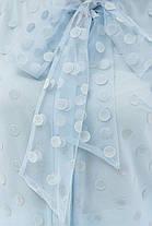 Голубая блуза в горошек с бантом на груди размер 42-50, фото 3