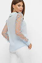 Голубая блуза из шифона и рукавом сеткой размер 42-50, фото 2