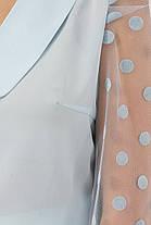 Голубая блуза из шифона и рукавом сеткой размер 42-50, фото 3