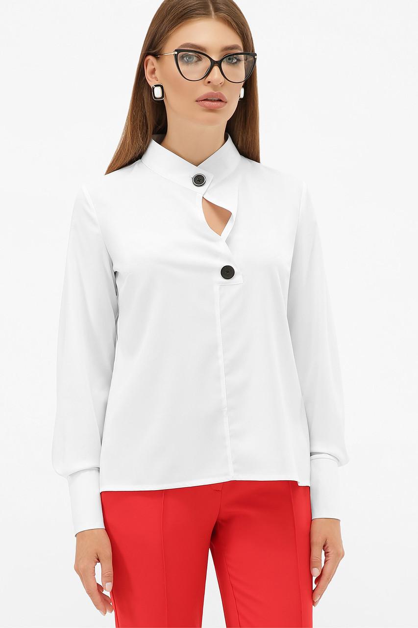 Белая стильная блуза с длинным рукавом со стойкой размер 44-50