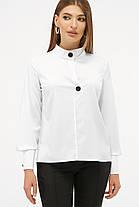 Белая стильная блуза с длинным рукавом со стойкой размер 44-50, фото 3