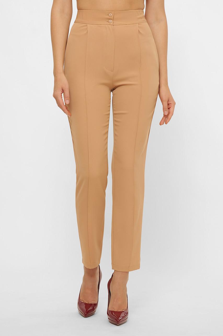 Бежевые брюки с высокой посадкой размер 44-50
