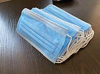 Маска защитная медицинская трехслойная Spunbond, голубая