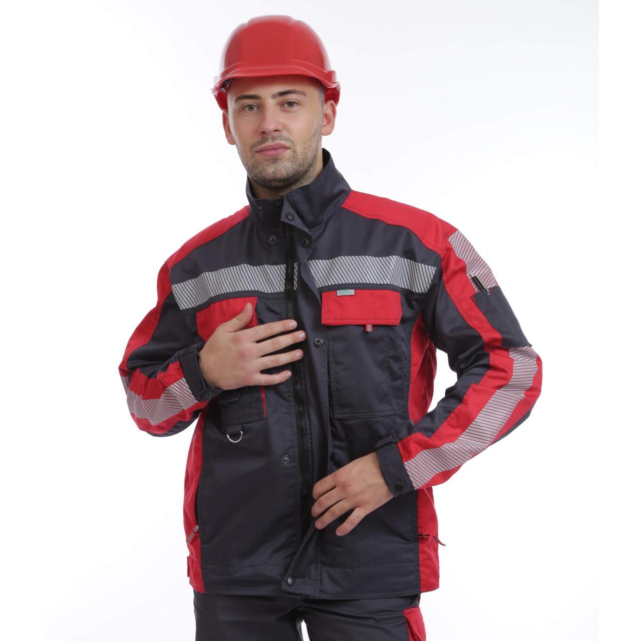 Куртка рабочая ГРАНД, гарда (65%п/э+35%х/б), т.серый/красный