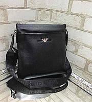 Кожаная мужская сумка барсетка кросс-боди через плечо мессенджер натуральная кожа черная, фото 1
