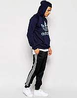 Теплые приталенные спортивные штаны Адидас на флисе Зима Adidas на манжете байка